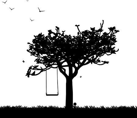 columpios: Columpio en el parque o el jardín en la silueta de primavera
