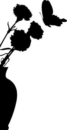 carnations:  Flower carnations in vase and butterfly flying silhouette