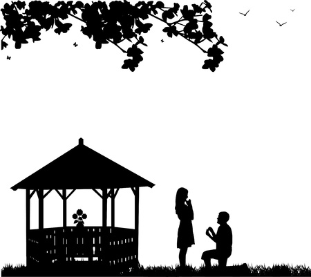 Romantic proposal in park or garden under the branches of a man proposing to a woman while standing on one knee next to the arbor or summer house one in the series of similar images silhouettes  Illustration
