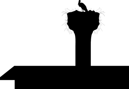 Stork in the nest in the chimney on the roof silhouette Vector