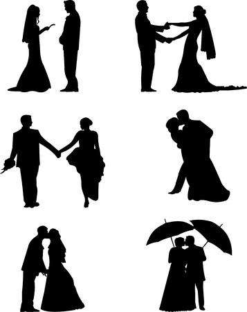 braut und bräutigam: Hochzeitspaare, Br�utigam und Braut in einem verschiedenen Posen Silhouette, eine in der Reihe von �hnlichen Bildern Illustration