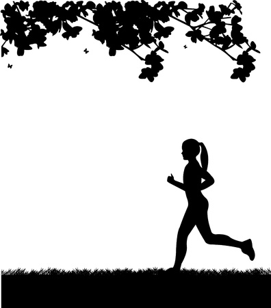 runner:  Girl running in park in spring silhouette layered