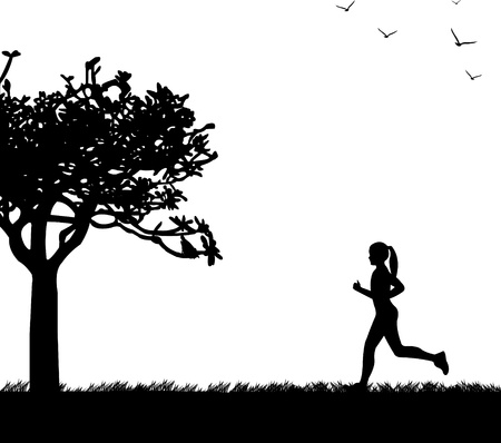 Girl running in park in spring silhouette layered Vector