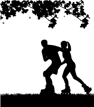 skate park:  Girl and boy on roller-skates in park in spring. Silhouettes on a white background , one in the series of similar images Illustration