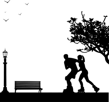 Girl and boy on roller-skates in park in spring. Silhouettes on a white background , one in the series of similar images Vector