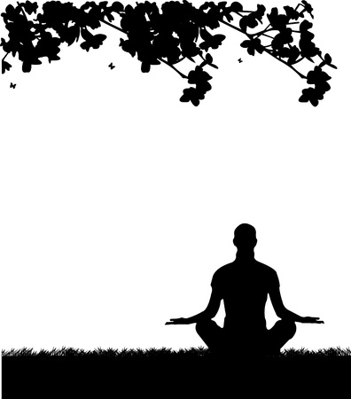 An isolated girl meditating and doing yoga exercise under the tree in park in spring silhouette, one in the series of similar images Vector