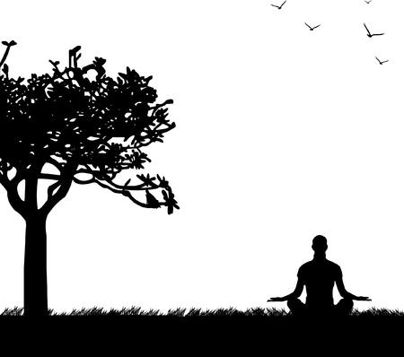 Una niña de meditar aislada y haciendo ejercicios de yoga bajo el árbol en el parque de la silueta de la primavera, uno en la serie de imágenes similares