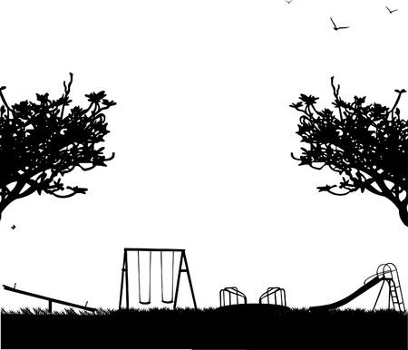 ni�os en recreo: Juegos infantiles con diferentes objetos en la silueta del parque