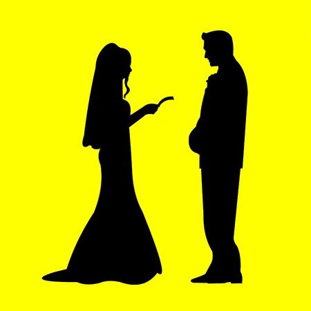 Bruidspaar, kersverse in gele achtergrond silhouet gelaagde