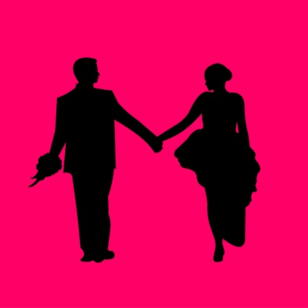 life partners: Wedding couple, newlywed in pink background silhouette layered