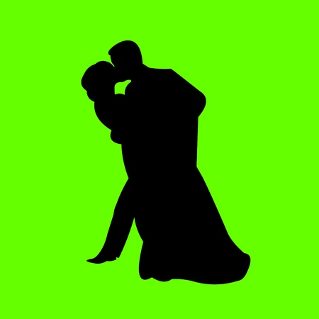 wedding reception: Wedding couple, newlywed in green background silhouette layered  Illustration