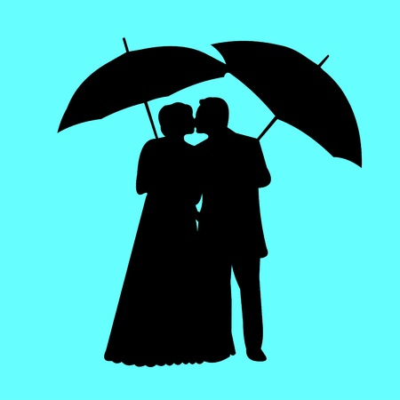 evening gown: Wedding couple, newlywed in blue background silhouette layered  Illustration
