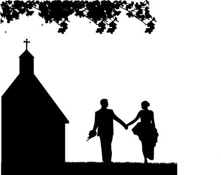 Outdoor bruiloften met een bruidspaar en kerkelijke achtergrond silhouet gelaagde