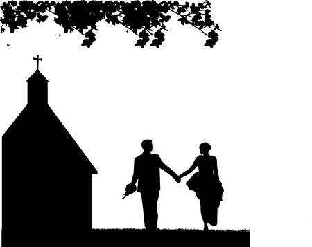 Outdoor weddings with wedding couple and church background silhouette layered Vector