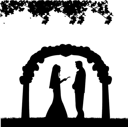 nuptials:  Outdoor weddings with wedding couple and reading matrimonial vows background silhouette layered Illustration