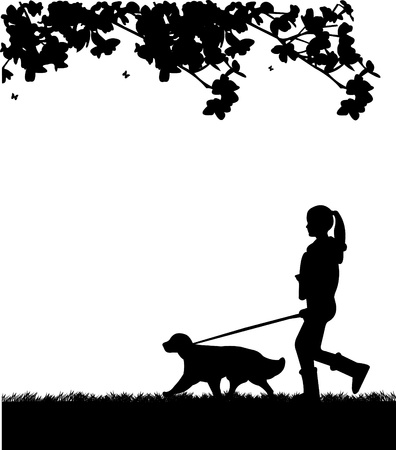 dog leash: Girl walking a dog in park in spring silhouette layered, one in the series of similar images