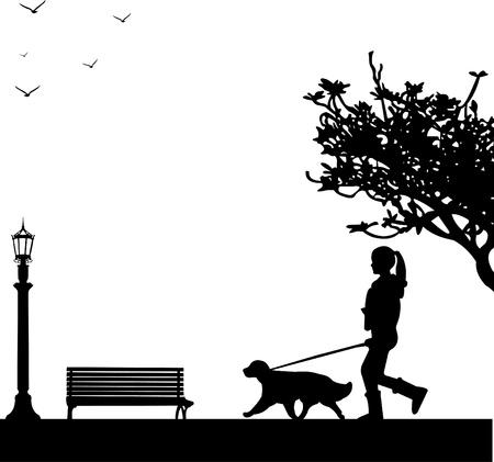 Ragazza a spasso il cane nel parco in primavera, silhouette a strati, uno nella serie di immagini simili
