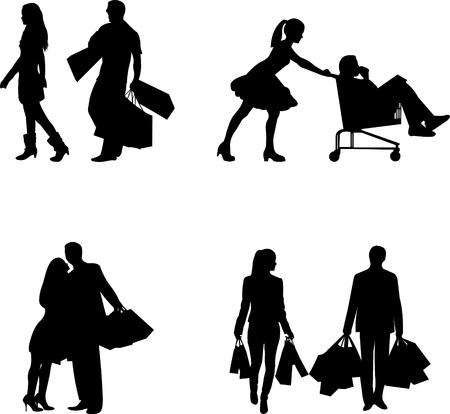 Pareja - hombre y una mujer en un centro comercial con bolsas de compras en diferentes poses silueta Ilustración de vector