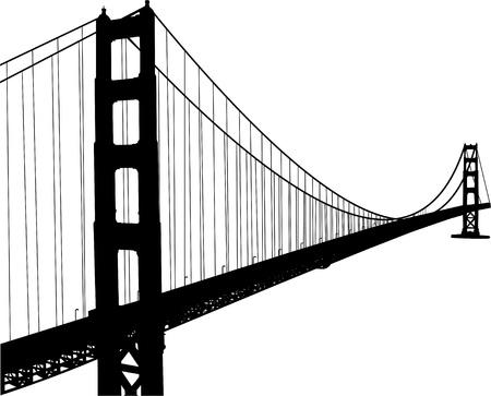 golden gate: Silhouette of golden gate bridge  Illustration