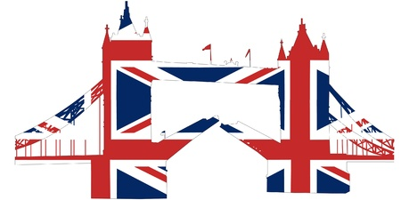 british flag: Tower bridge London as British flag  Illustration