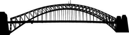 steel bridge: Sydney Harbour bridge silhouette  Illustration