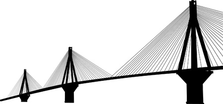 suspension bridge: Suspension bridge crossing Corinth Gulf strait, Greece  Is the world s second longest cable-stayed bridge, Rion Antirion bridge  Illustration
