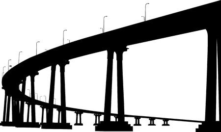 inlet bay: Silhouette of San Diego Coronado bridge