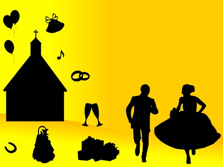 Wedding backgrounds with newlyweds and wedding symbols on a yellow backgrounds Vector