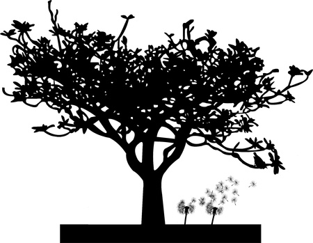 Dandelion under the tree silhouette Vector
