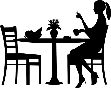 tobacco product: Silhouette of smoking woman with cup of coffee, on table with lily of the valley and bowl fruit Illustration