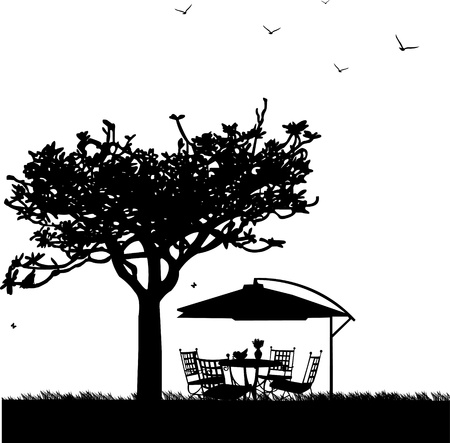 lawn chair: Garden furniture with bowl of fruit, bouquet hyacinths in vase and parasol in garden silhouette, one in the series of similar images