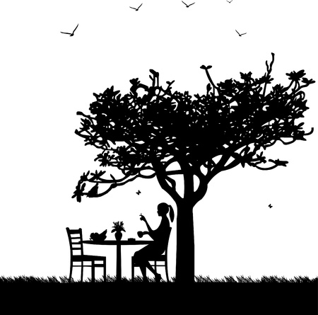 Silhouette of smoking woman with cup of coffee in garden, on table with lily of the valley and bowl fruit, one in the series of similar images Vector