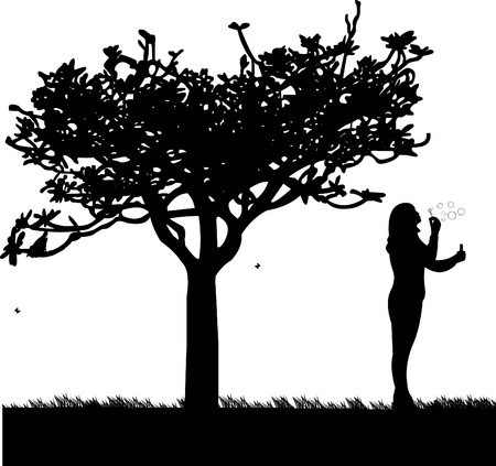 Young girl blowing soap bubbles in park silhouette Vector