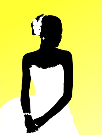 Silhouette of a bride on yellow background  Illustration