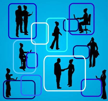 Business background in different position with business people on layered  Vector