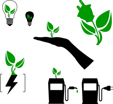 Symbols of green energy, fuel and technology silhouette Vector