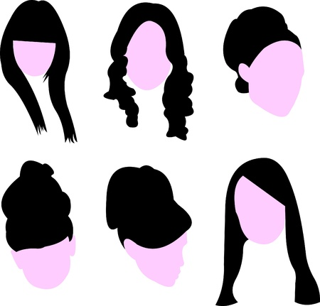 girl short hair: Set of long hairstyles for woman silhouette
