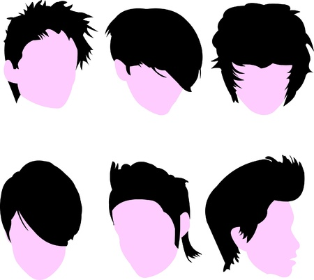 haircuts: Set of short straight hairstyles for woman silhouette Illustration