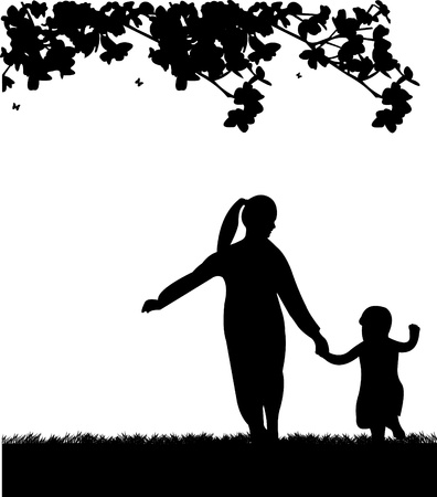 Mother s day celebration between mother and daughter, beautiful concept wallpaper for happy mother s day celebration, one in the series of similar images silhouette Stock Vector - 13244984