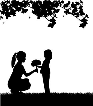 day care: Celebrazione Festa della mamma s tra madre e figlia, carta da parati bel concetto per la celebrazione giorno felice madre s, uno nella serie di immagini simili silhouette