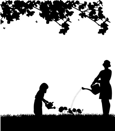 happy family garden:  Mother s day celebration between mother and daughter, beautiful concept wallpaper for happy mother s day celebration, one in the series of similar images silhouette