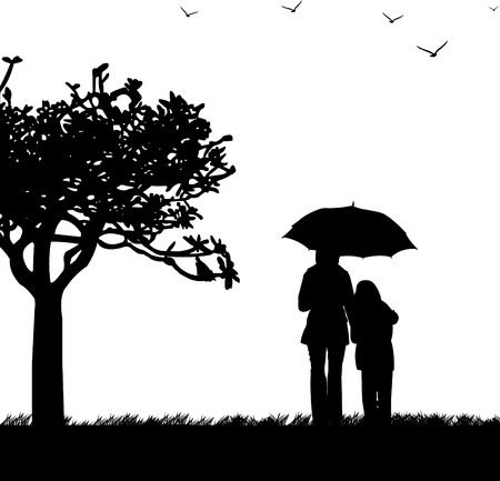 Mother s day celebration between mother and daughter in park, beautiful concept wallpaper for happy mother s day celebration, one in the series of similar images silhouette Stock Vector - 13270984