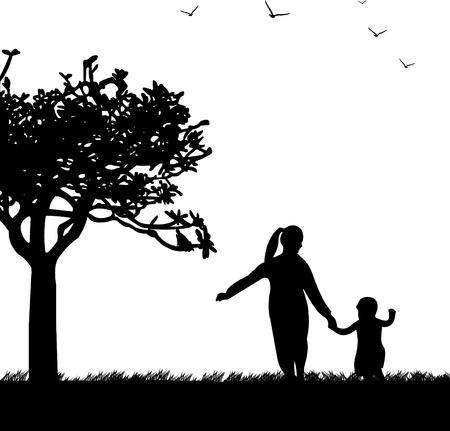 day care: Celebrazione Festa della mamma s tra madre e figlia in un parco, carta da parati bel concetto per la celebrazione giorno felice madre s, uno nella serie di immagini simili silhouette