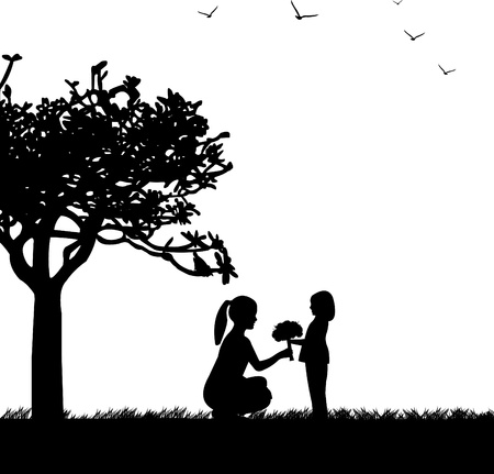 어머니의: 공원에서 엄마와 딸 사이에 어머니의 날 축하, 행복 어머니의 날 축하 아름다운 개념 벽지, 비슷한 이미지의 실루엣 시리즈의 하나 일러스트