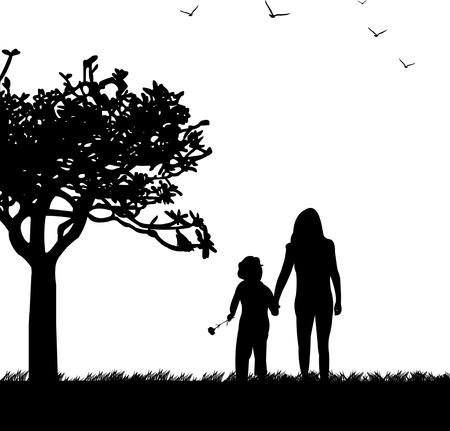 Mother s day celebration between mother and daughter in park, beautiful concept wallpaper for happy mother s day celebration, one in the series of similar images silhouette Vector