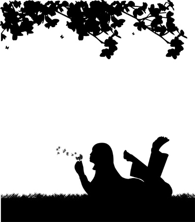 Girl blowing the dandelion in park under the tree silhouette