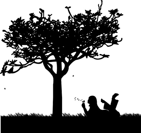 wish: Girl blowing the dandelion in park under the tree one in the series of similar images silhouette