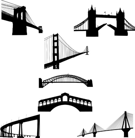 suspension bridge: The most famous bridges of the world silhouette Illustration