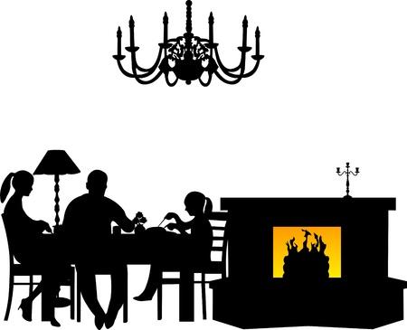 högtider: Familjen som har sin middag vid bordet bredvid den öppna spisen i restaurangen eller matsal silhuett