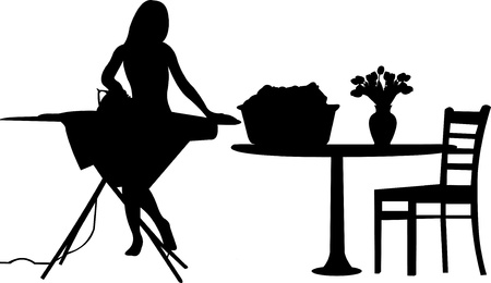 laundry room:  Young woman irons clothing in room silhouette layered Illustration